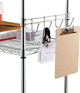 """Alera ALE Hook Bars For Wire Shelving, Four Hooks, 18"""" Deep, Silver (Pack of 2 Bars)"""