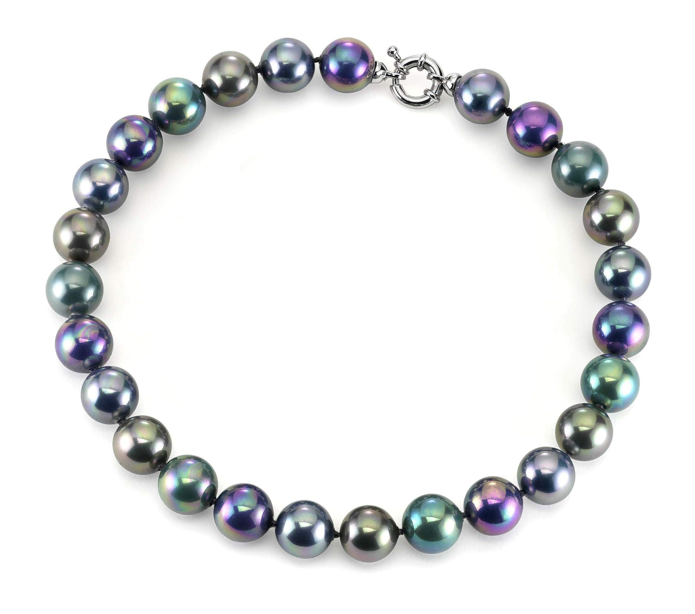 JOIA DE MAJORCA, 14mm 18 inch Tahitian Hues Pearl Necklace, Multi-Color, Rhodium Euro Clasp, Lustrous, Man-Made Organic Strand of Pearls from Majorca Spain by JOIA DE MAJORCA