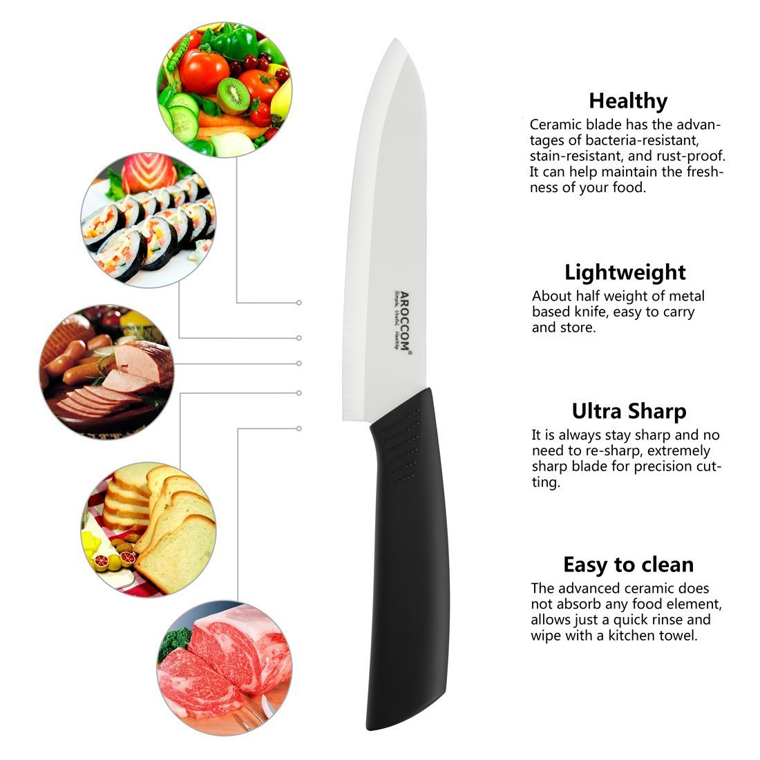 Ceramic and metal knives is the material they are made from ceramic - Amazon Com Aroccom Ceramic Chef Knife 6 Cutlry Kitchen Knife With Sheath Black Handle White Blade Kitchen Dining