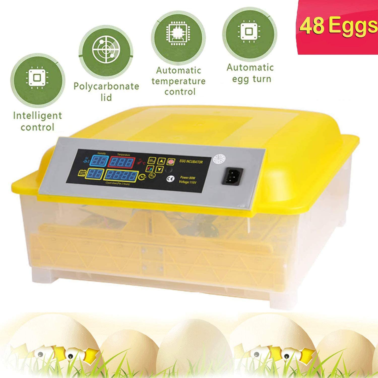 OppsDecor 56 Egg Incubator with Automatic Egg Turning Digital Clear Hatching Chickens Duck Birds Eggs Thermometer Temperature Control 90W 56 Egg