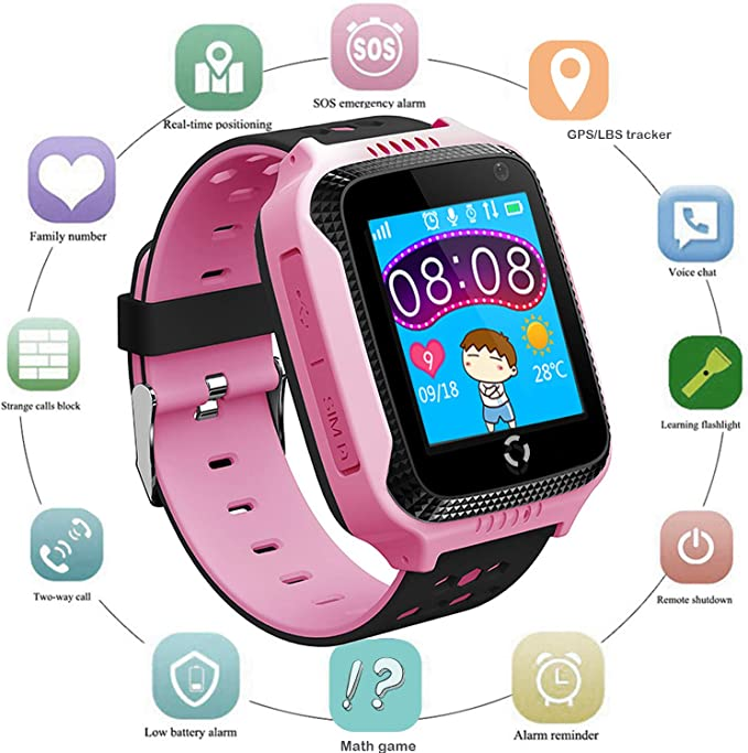 Kids GPS Smart Watch for Students - Boys Girls Smartwatch Phone with GPS Locator 2 Way Calls SOS Camera Voice Chat Math Game Step Counter Geo Fence ...