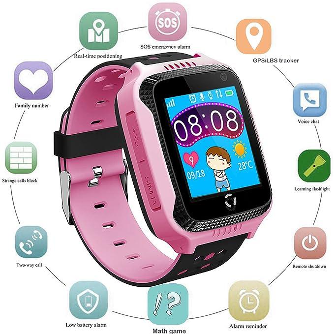 Niños Smartwatch Localizador GPS, Reloj Teléfono con GPS LBS Tracker Chat de voz SOS Cámara Despertador Podómetro Linterna para Mirar Regalos Niño ...