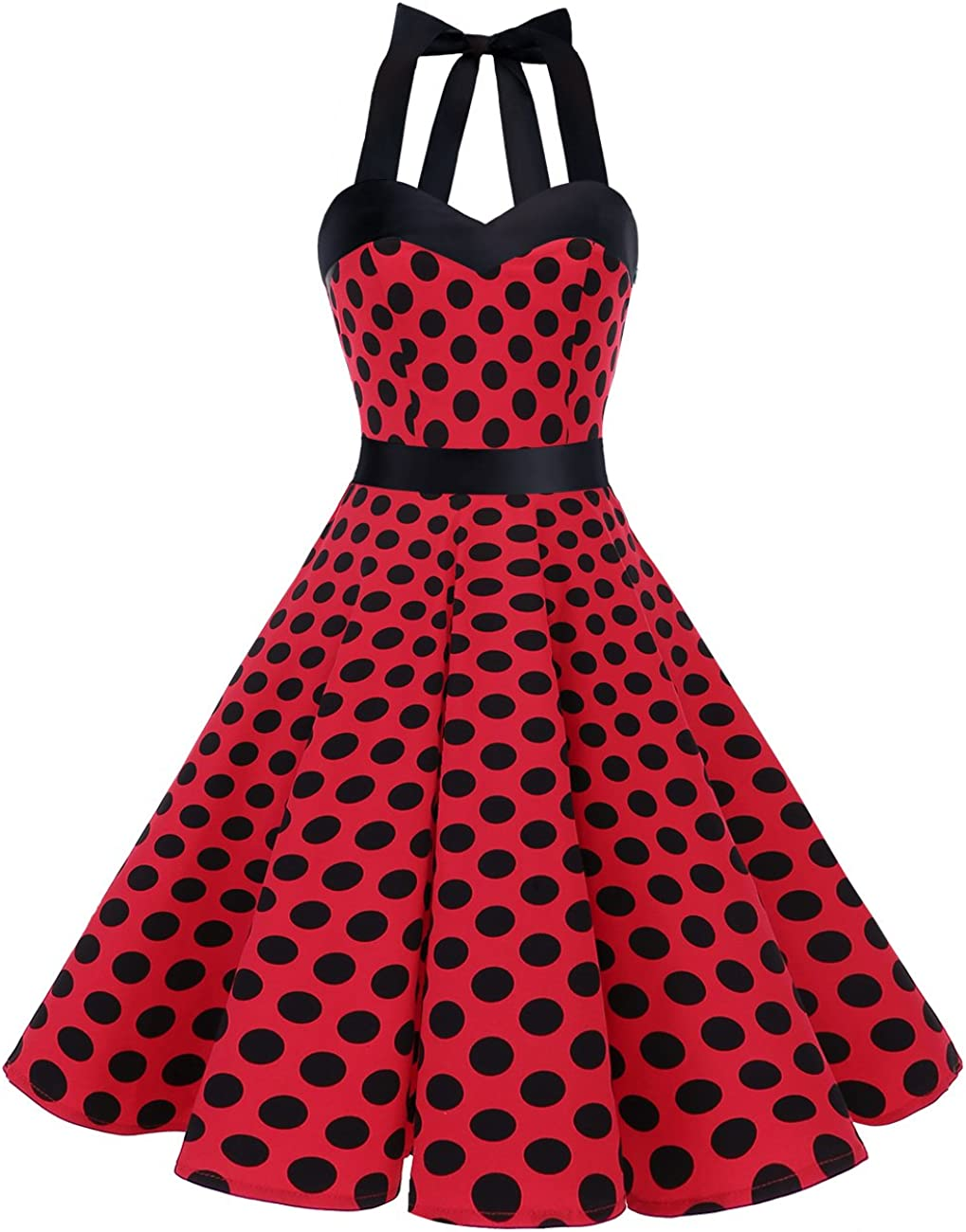 TALLA XS. Dresstells® Halter 50s Rockabilly Polka Dots Audrey Dress Retro Cocktail Dress Red Black Dot XS