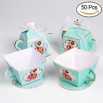 AerWo - Juego de 50 cajas de regalo con forma de tetera y 50 cajas de