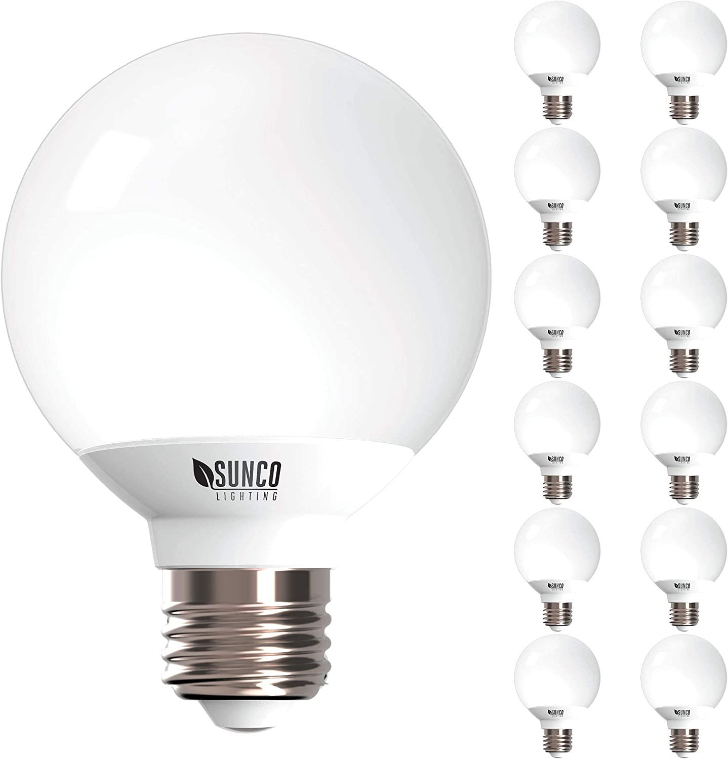 Sunco Lighting 12 Pack G25 LED Globe, 6W=40W, Dimmable, 450 LM, 2700K Soft White, E26 Base, Ideal for Bathroom Vanity or Mirror - UL & Energy Star