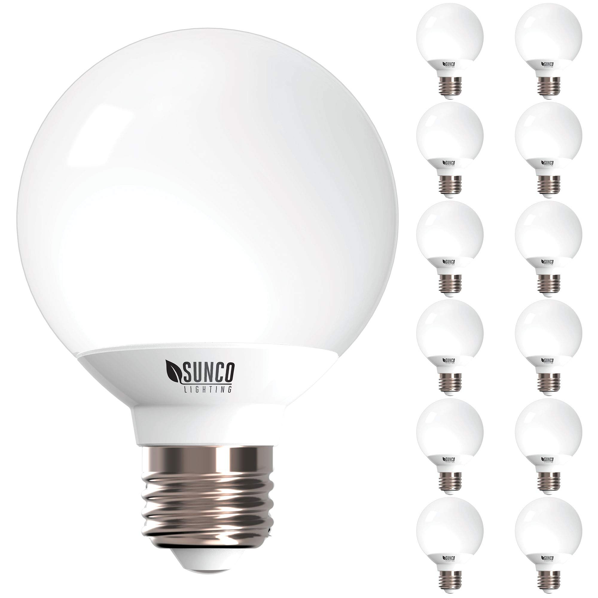 Sunco Lighting 12 Pack G25 LED Globe, 6W=40W, Dimmable, 450 LM, 5000K Daylight, E26 Base, Ideal for Bathroom Vanity or Mirror - UL & Energy Star