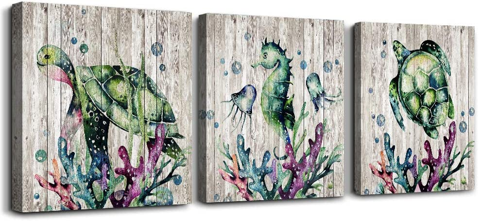 Canvas Wall Art for living room bathroom Wall Decor for bedroom kitchen artwork Canvas Prints Sea turtles Marine animals painting 3 Pieces framed Modern office Home decorations family pictures