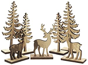 Midwest-CBK Natural Wooden Deer & Tree Figurines for Holiday Decor - Set of 7