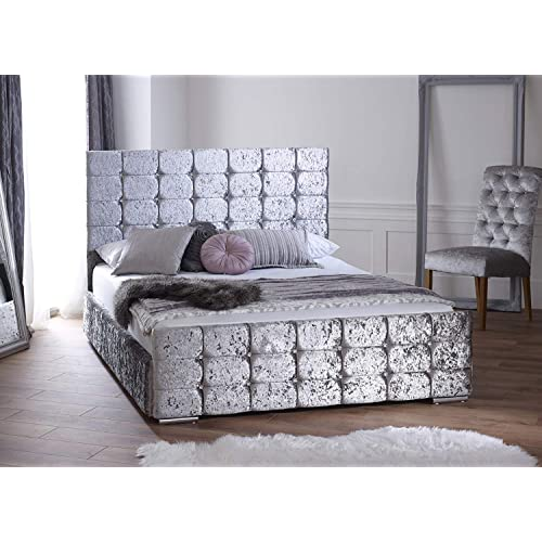 silver crushed velvet bed. Black Bedroom Furniture Sets. Home Design Ideas