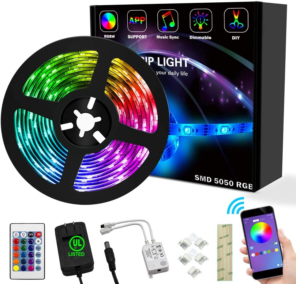 16.4FT RBG SMD 5050 LED Strip Lights, Operate via Remote Controller or APP, Music Sync with Color Changing. Ideal for Home, Bars and Christmas Trees Decoration (16.4ft LED Strip Lights)