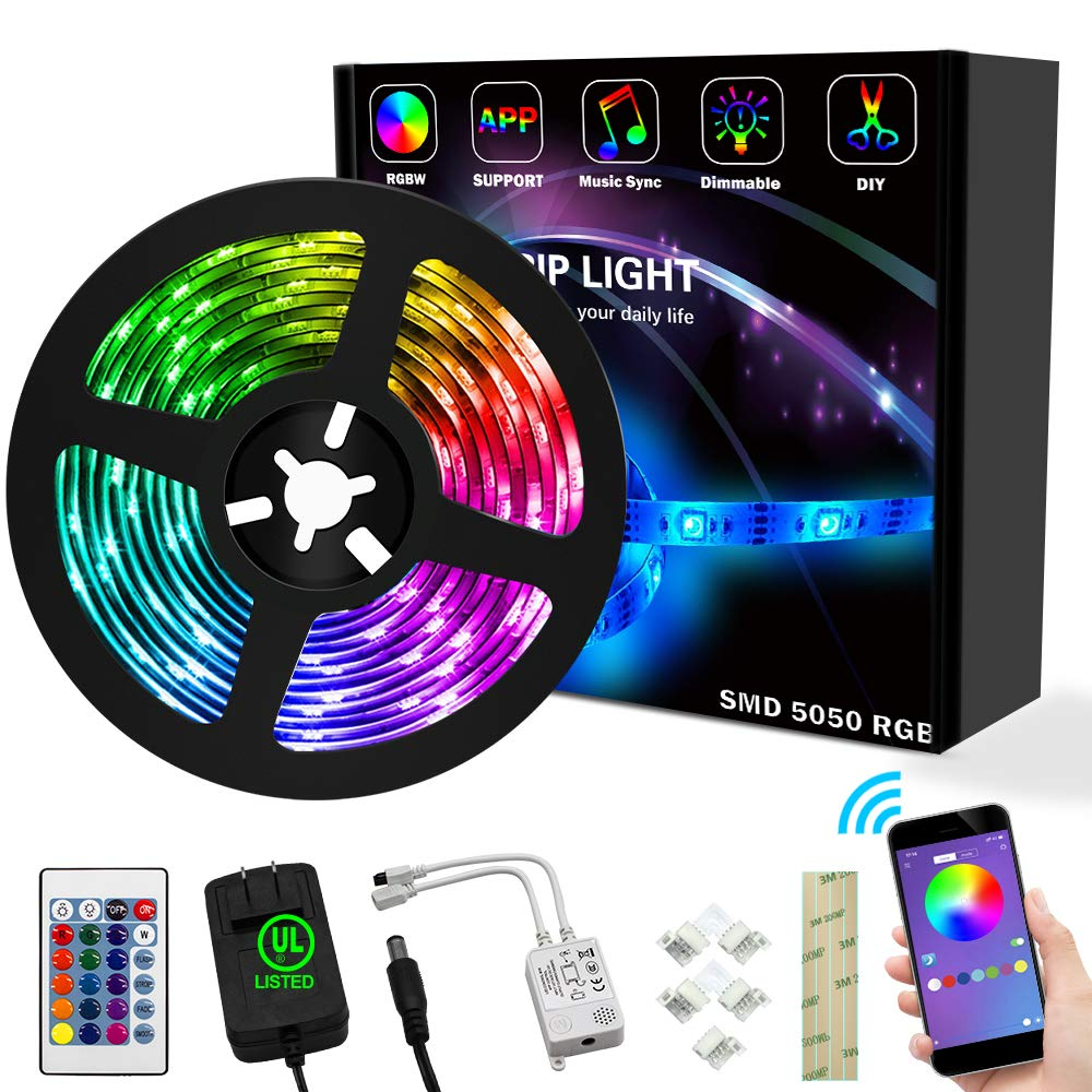 Weird Tails LED Strip Lights 16.4ft - (New Version) Music Sync Color Changing Lights with +50% Brightness 5050 RGB LEDs and Strong Adhesive Tape, APP Control, Dimmable, for Party, Home Decoration by weird tails