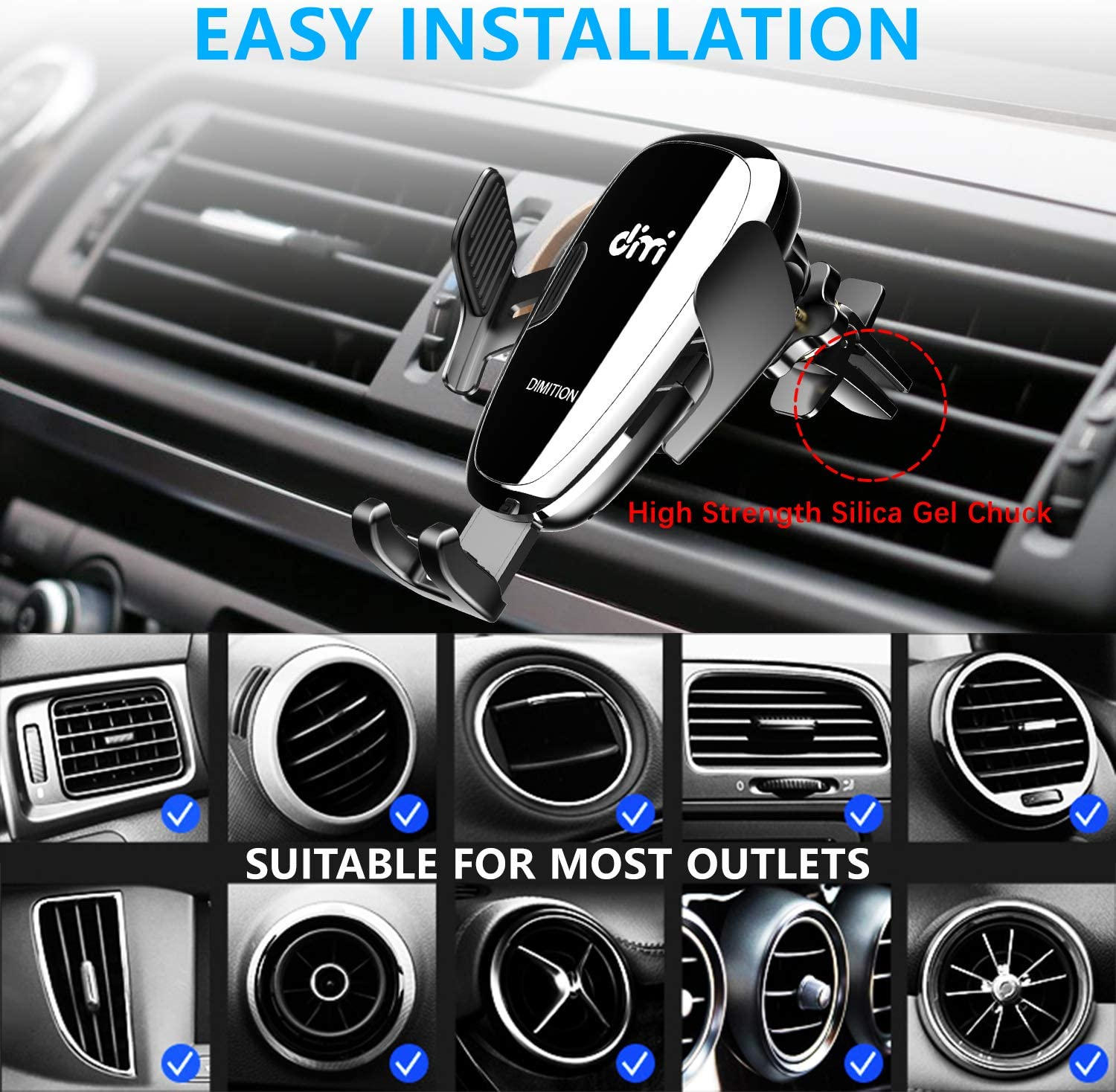Samsung Galaxy S10//S10 Plus//S9//S8//S7//Note 9 10 DM Car Phone Mount Air Vent Automatic Clamping Cell Phone Holder for Car Wireless Charger Built-in Battery Compatible with iPhone Xs Max//XR//XS//X//8 Plus