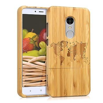 kwmobile Funda para Xiaomi Redmi Note 4 / Note 4X - Carcasa Protectora de [bambú] para móvil - Case [Duro] con diseño de Mapa del Mundo