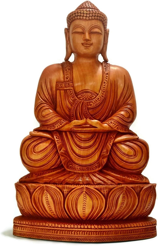 YSTJKD Santo Buddha Legno Piccola Buddha Intagliato a Mano Statua del Buddha di Meditazione Buddha Figure Scultura Decorazione Pregando La Statua del Buddha Decorazione dInterni per La Casa 1 PCS