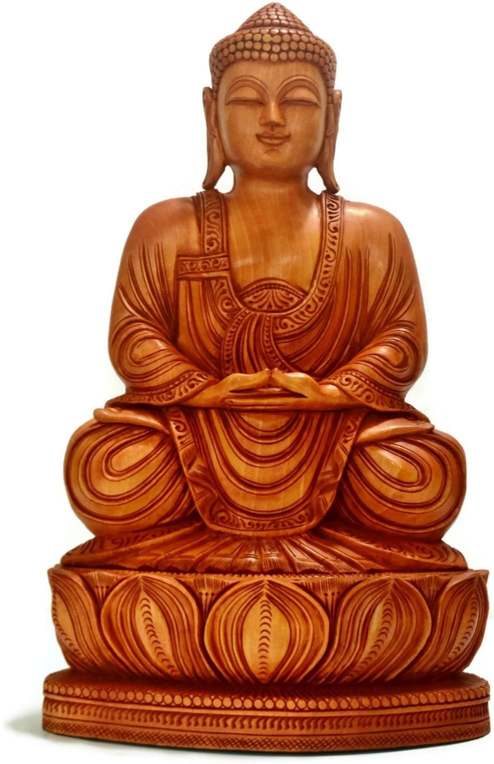 CraftVatika 15 inch Wooden Meditating Buddha Statue- Large Tibet Tibetan Chinese Hand Carved Samadhi Buddhist Sculpture CraftVatika by CraftVatika