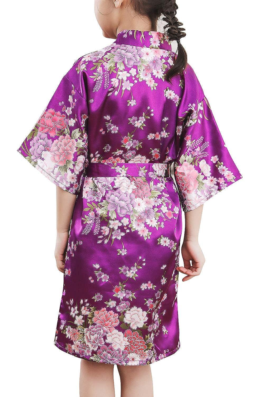 Cereza Flores Robe Albornoz Ropa de Dormir Pijama SPA nataci/ón cumplea/ños Qemsele Ni/ños Ni/ña Vestido Kimono Sat/én Camis/ón para Ni/ña