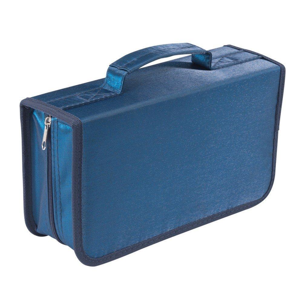 128 Capacity CD/DVD case Wallet, Storage,Holder,Booklet by Rekukos(Blue)