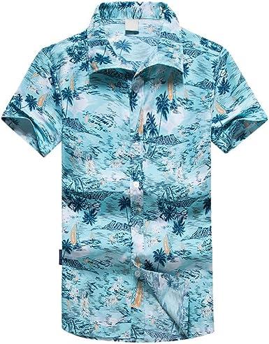 Blusas Hombre Manga Corta Camisas Hombre Manga Corta Estilo Hawaiano Camisa de Manga Corta de Playa para Hombre Camisa de Manga Corta Estampada para Hombre Camisas Hawaianas Hombre: Amazon.es: Ropa y accesorios