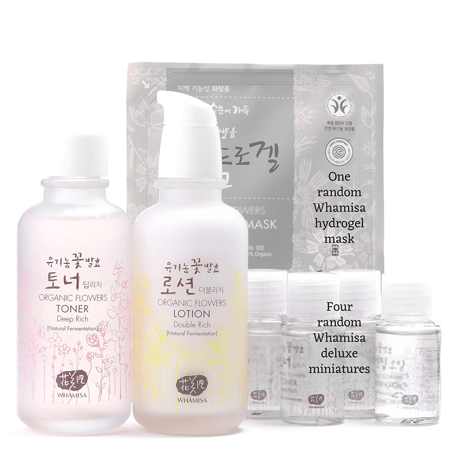 Whamisa Organic Flowers Toner & Lotion Skincare Set for Face & Body | Deep Rich Kit with Whamisa Organic Facial Mask + 4 Best Miniature Samples | with Natural Ingredients Korean Skin Care