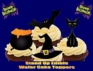 Halloween Bat Katze Kochkessel Hexenhut Mix 12 Essbare Standup