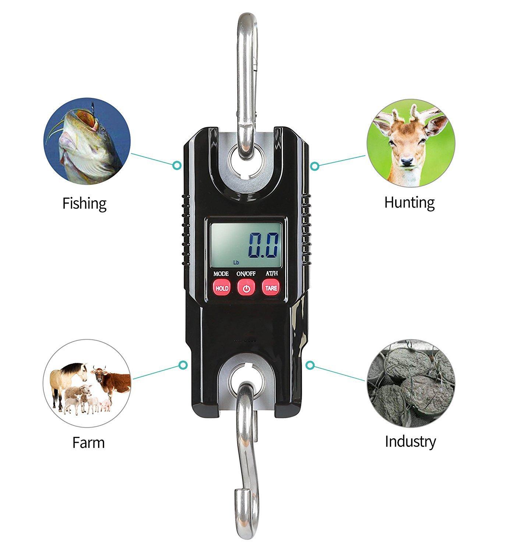 YMXLJJ Crane Scale Digital Professional 300 Kg con Sensor De Precisión Gancho De Acero Inoxidable para Pescar En La Granja Mini Electronic Crane Scale ...