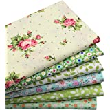 iNee 6 Fat Quarters Quilting Fabric Sewing DIY Craft Bundle,18 Inch x22 Inch - Green Floral
