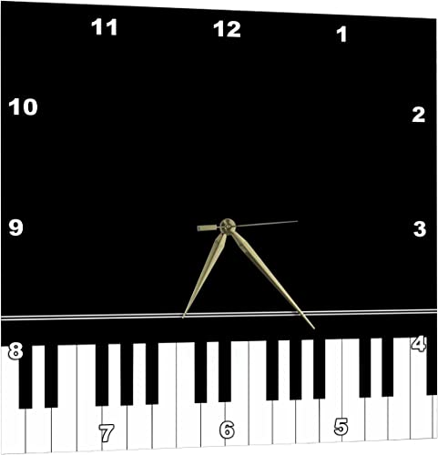 3dRose Black Piano Edge – Baby Grand Keyboard Music Design for Pianist Musical Player and Musician Gifts – Wall Clock, 15 by 15-Inch DPP_112947_3