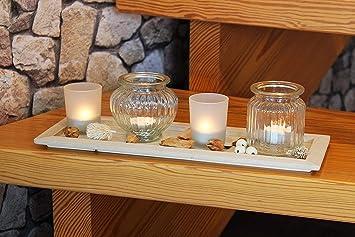 KAMACA Tolles LED   Teelichthalter   Set Auf Massivem Holz   Tablett Mit 4  Windlichtern Aus
