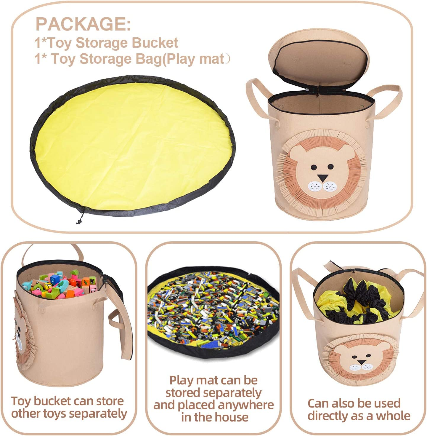 Poemyoued Toy Storage Basket and Play Mat,Collapsible Cartoon Lion Felt Bucket,Outdoor Toy Quick Storage Bag Large Capacity Toy Storage for Kids Room Classroom Toy Organizer
