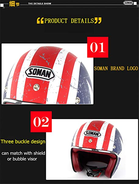 Amazon.com: LI Yuan Retro Motor Cycle Helmets Capacetes Moto Bike Casco S-XXL Half Helmet Open Face Chopper Biker Helmet,S: Home & Kitchen