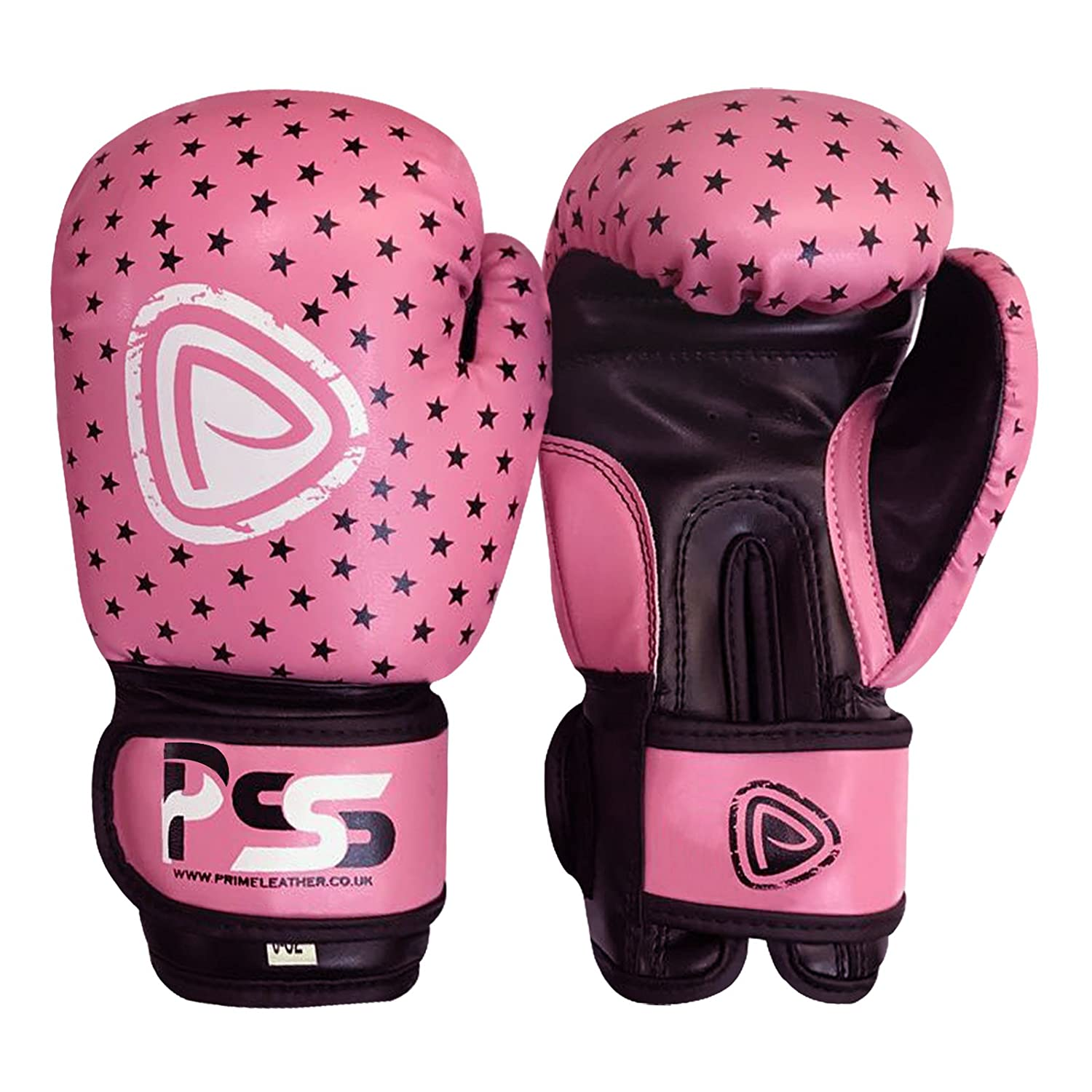 Prime子供用ボクシンググローブMitts MMA Rexレザーパンチバッグ子Fight Sparring 4oz 6ozピンクカラーwith Stars (ピンクwith星、4オンス) B00LX3SJMY