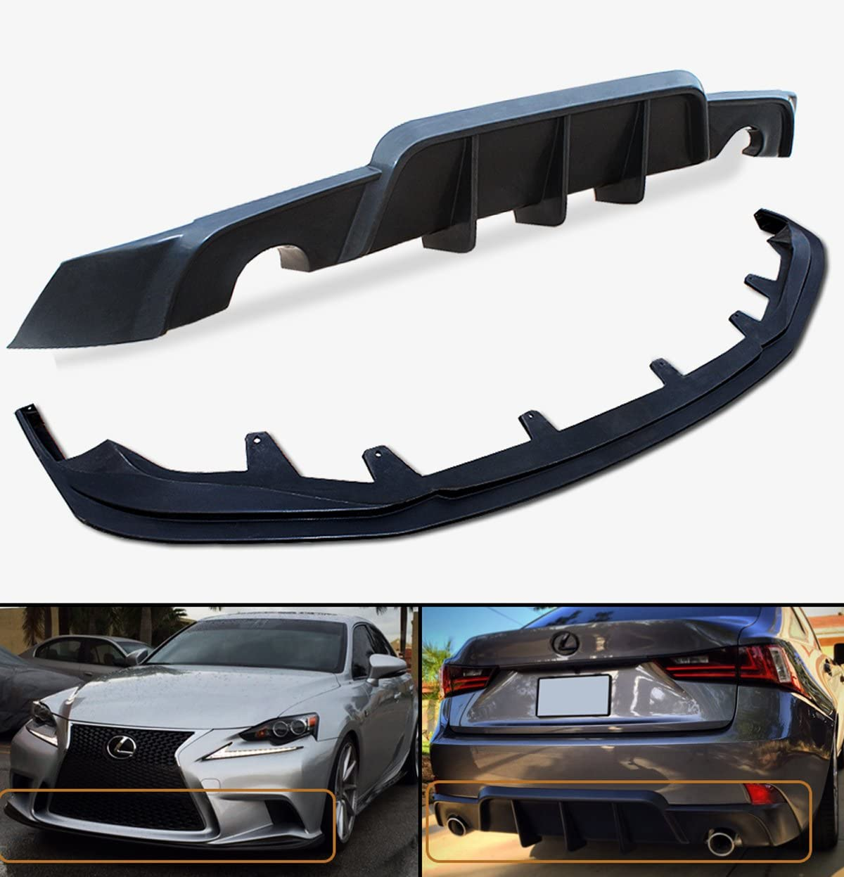 A-Style Front Lip F-Sport Only Urethane Fits 14-16 Lexus IS200t IS250 IS350