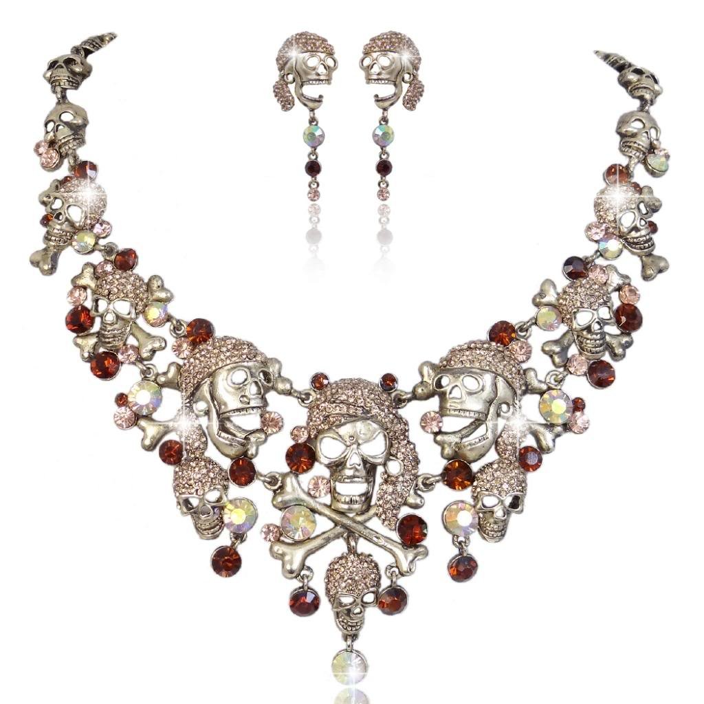 EVER FAITH Austrian Crystal Vintage Style Cross Pirate Skull Necklace Earrings Set Brown
