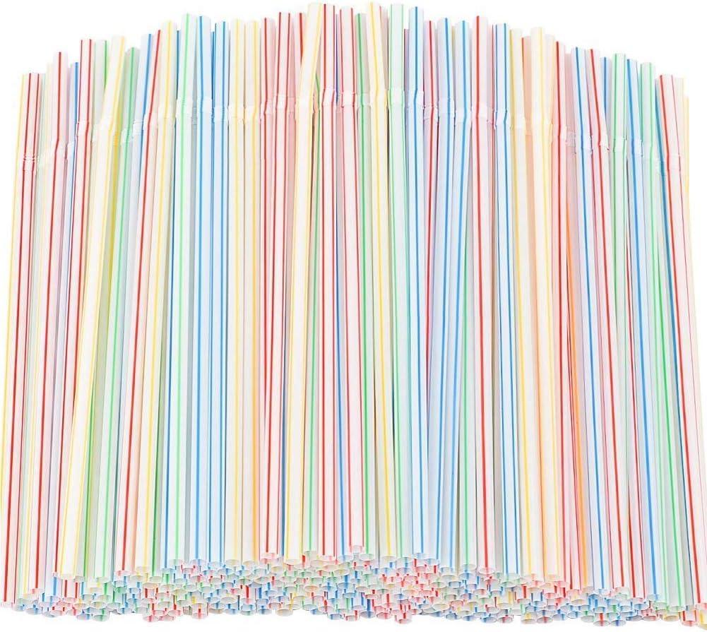 Yangte Pailles en plastique jetables flexibles sans BPA Rayures multicolores 600pcs