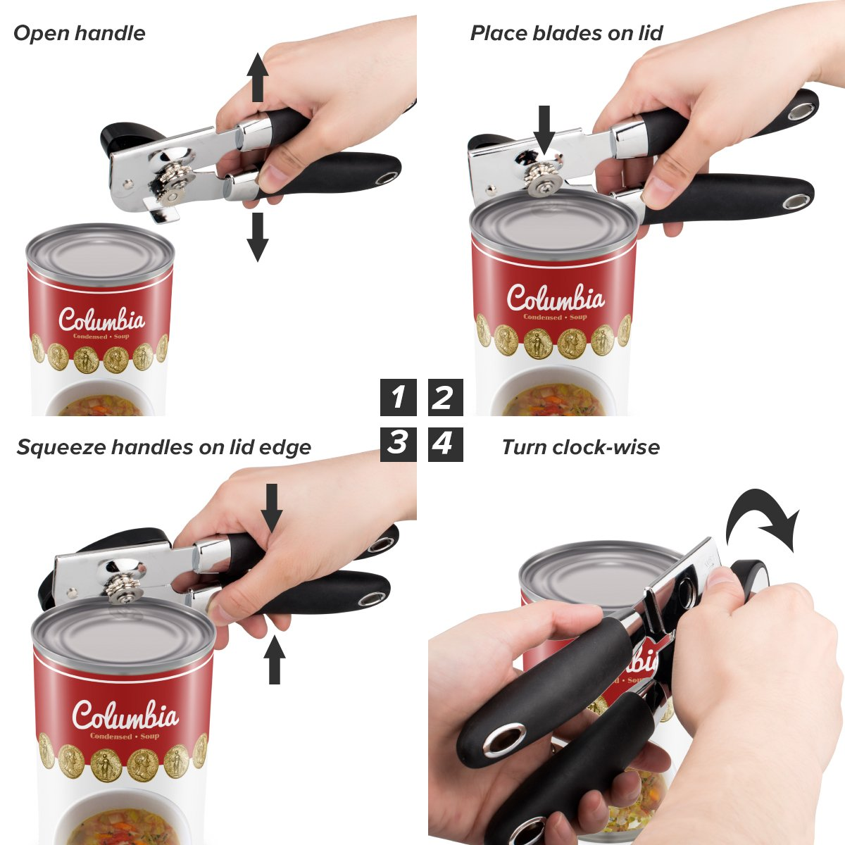 TangN Can Opener,Smooth Edge Manual Can Opener,Sharp and Hard Stainless Steel Cutting Edge, Comfortable Ergonomic Handle Opener