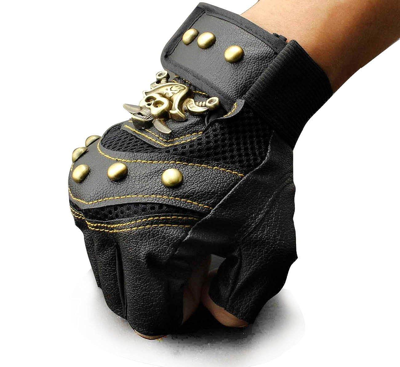 Men/'s Skull Stud Biker Punk Driving Motorcycle Fingerless Leather Gloves LB05