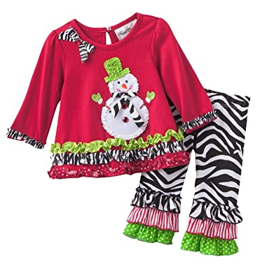 61e86c0f684d Rare Editions Girls Snowman Christmas Holiday Dress Outfit Leggings , Red ,  9M