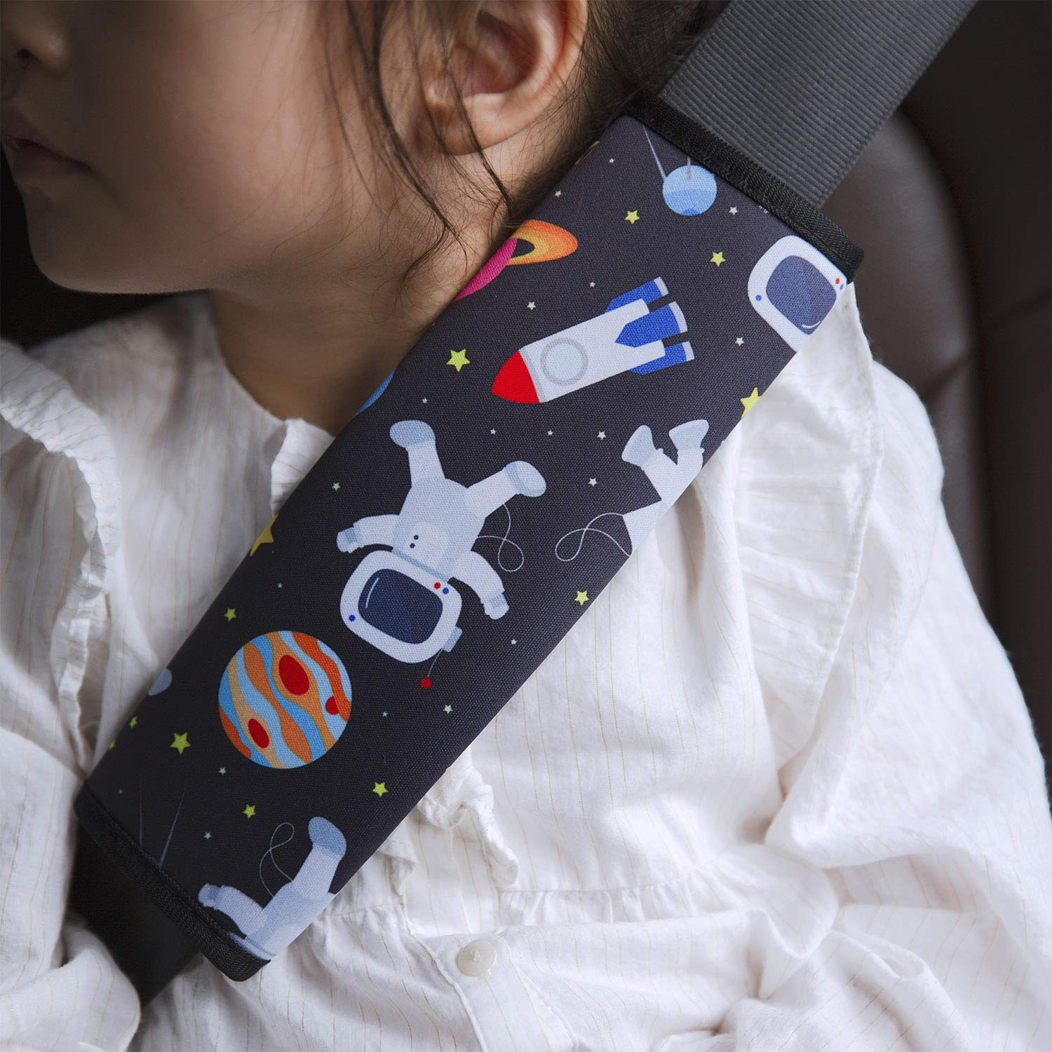 Spaceman 1 Pack Cute Cartoon Pattern Car Seat Belt Pads Cover for Girls and Boys Soft Comfort Seat Belt Cushion for Children YR Seat Belt Cover for Kids