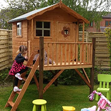 mercia kids tulip wooden playhouse with tower: Amazon.co.uk ...