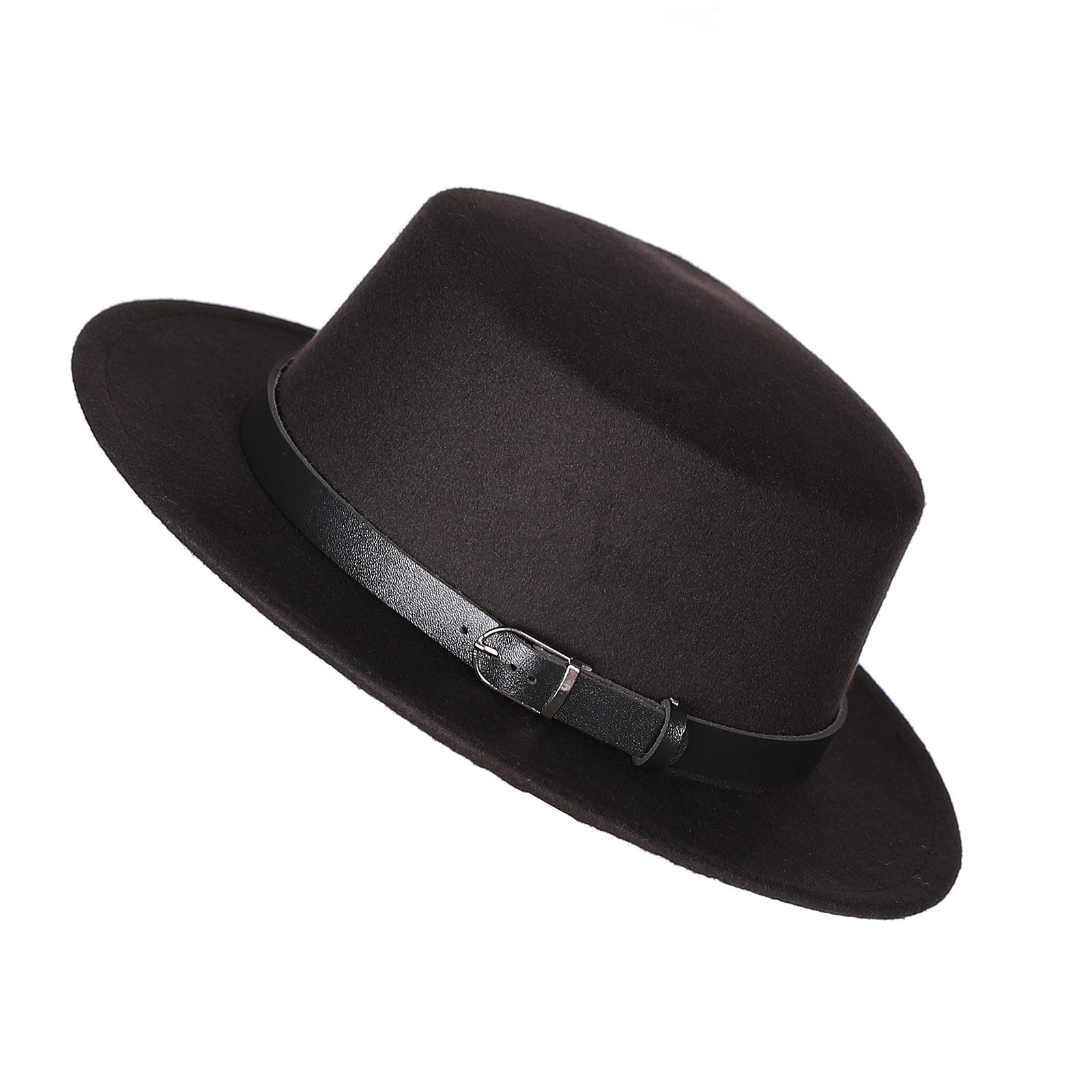 Prefe Women's Brim Fedora Wool Flat Top Hat Church Derby Belt Cap (Black)