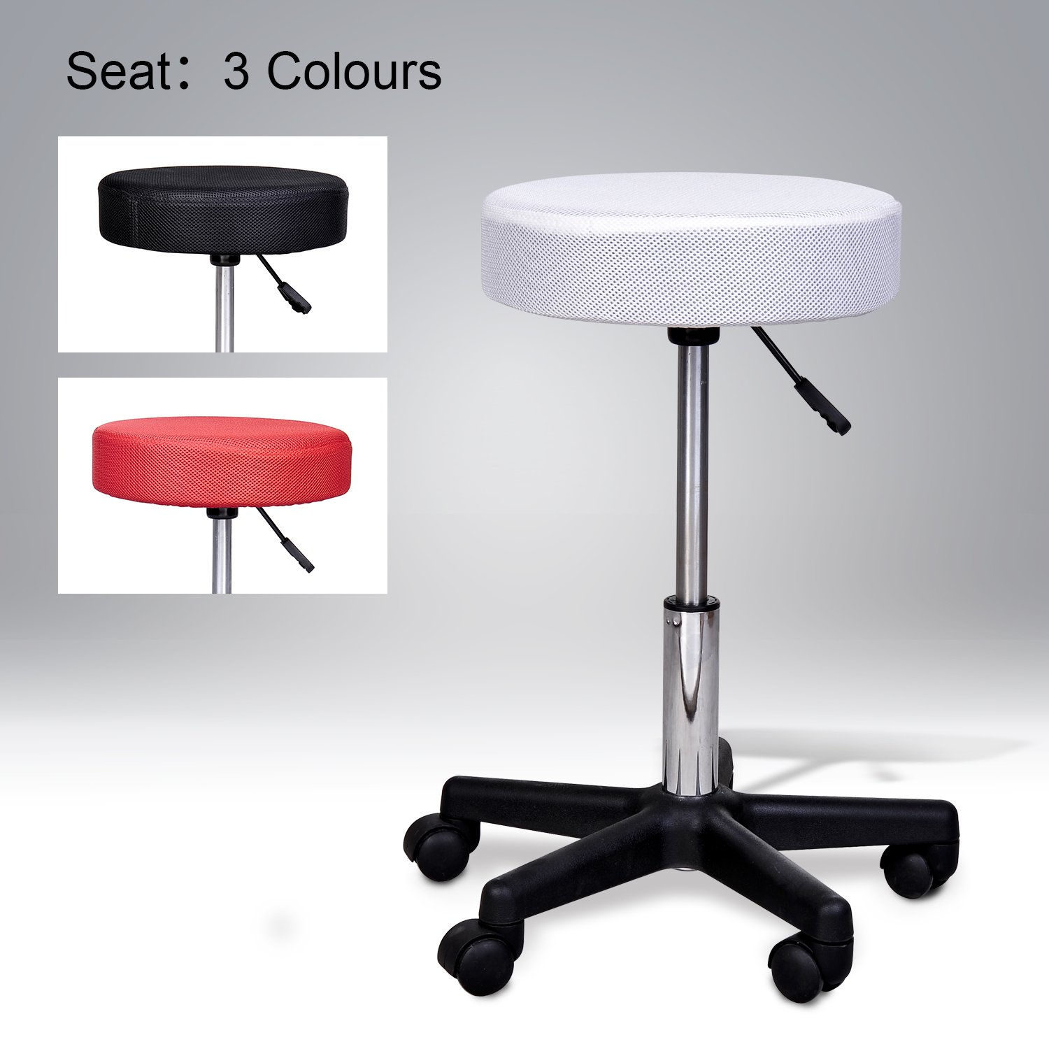 HOMCOM Swivel Salon Spa Stool with 3 Changeable Seat Covers, Red/White/Black Aosom Canada 71-0015
