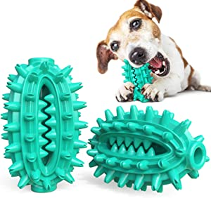 USWT Super Anti-bite Dog Toys Resist Knife Cutting Axe Chopping Increase Volume Food Dispensing Ball Puppy Toy Dogs Supplies Molar Teeth Cleaning Toothbrush Keep Oral Health