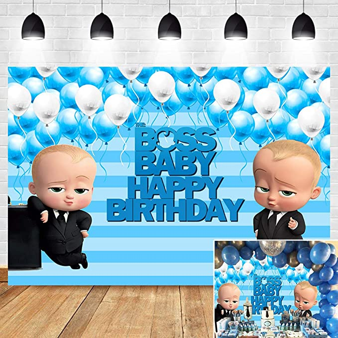 Amazon Com Boss Baby Boy Themed Photo Background Blue Stripe Baby Shower Supplies 1st 2nd Birthday Party Banner Decoration Photography Backdrop Vinyl 5x3ft Cake Table Photo Booth Studio Props Camera