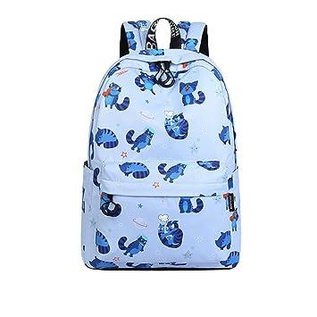 Meaningg Nuevo impermeable Telas mujeres mochila lindo gato animal patrón impresión Niñas Universidad gran capacidad mochila Azul cielo 14 pulgadas: ...