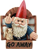 "Ebros Go Away Rude Gnome and His Squirrel at The Window Flipping Off Guests Wall Decor 9"" H Whimsical Grumpy Gnome Wall Plaque"