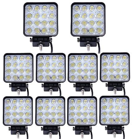 Leetop Lote de 10 Focos LED para Todoterreno Deportivo(48W,16 Luces LED,
