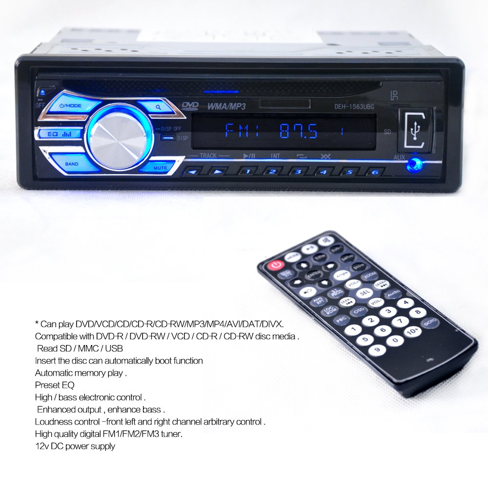 Amazon.com: Car CD Player Stereo Headunit CD DVD Player Receiver Radio 1  DIN 12V MP3/USB/SD/AUX/FM/iPod/iPhone by Hengweili: Car Electronics