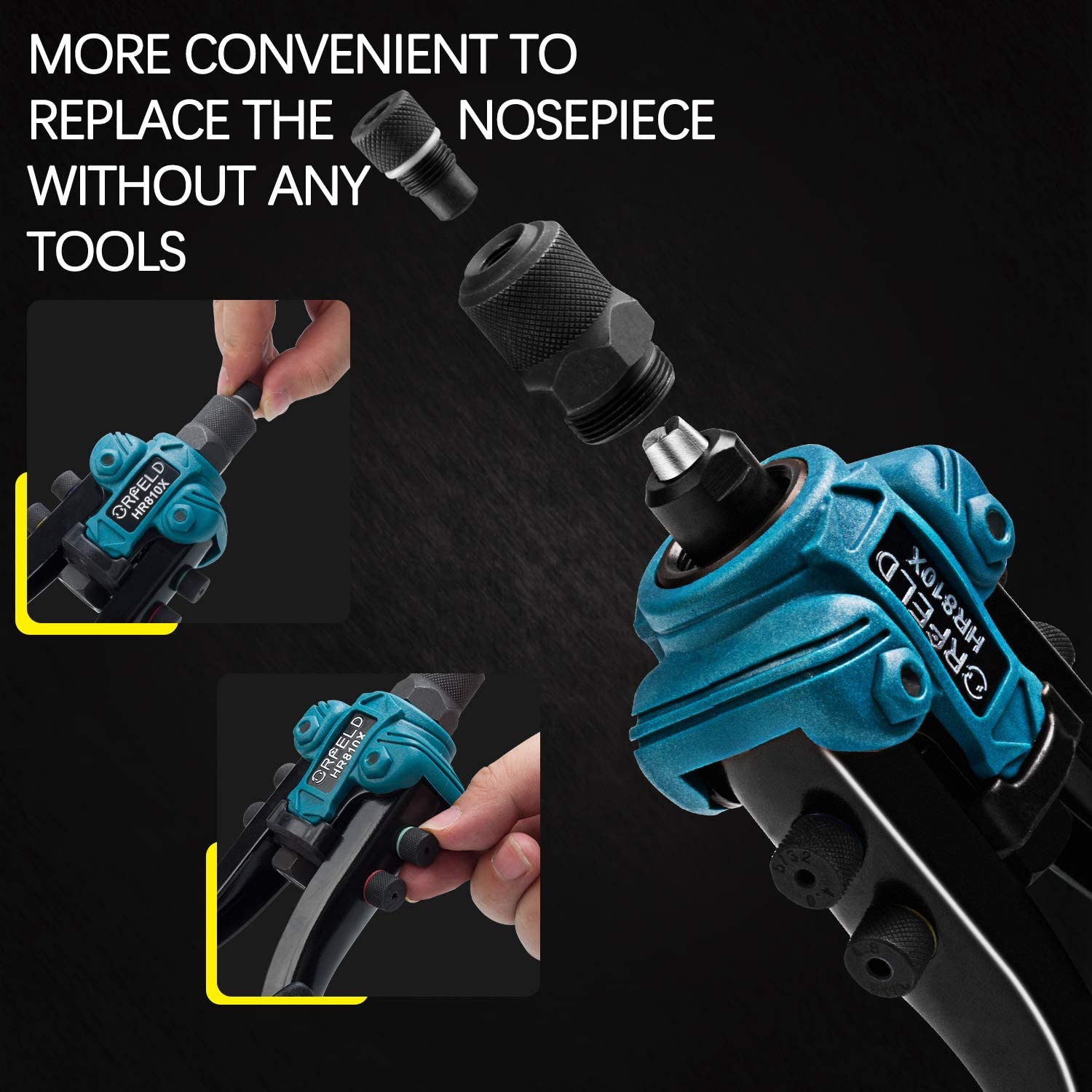 5 in 1 Hand Riveter. 50pcs Rivets 11inch Heavy Duty Rivet Tool with 5 Replaceable Nosepieces ORFELD Hand Rivet Gun