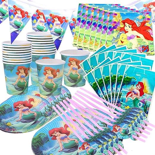 101PCS 20 Persona Feliz cumpleaños Sirena Ariel niñas Baby Shower Fiesta decoración Banner Mantel pajas Taza Placas Proveedor