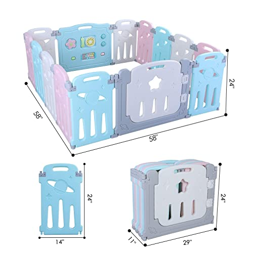 LAZY BUDDY Baby Playpen, 14 Panel Foldable Kids Activity Center Play Yard, Adjustable Shape, with Game Gate Double Lock Gate Bar, Toddler Boys Girls Fun Time Home Indoor Outdoor Fence